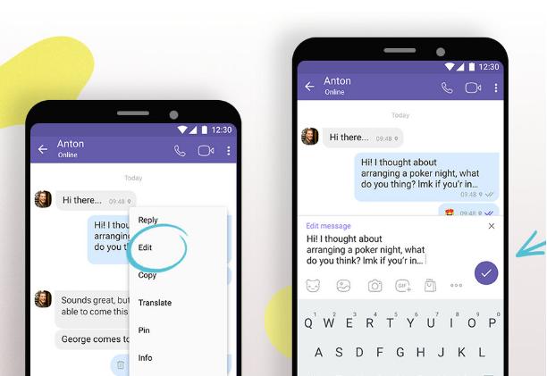 Viber cho phép người dùng chỉnh sửa tin nhắn đã gửi