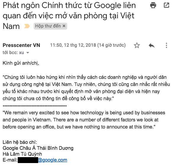 Google chưa quyết định mở văn phòng đại diện tại Việt Nam