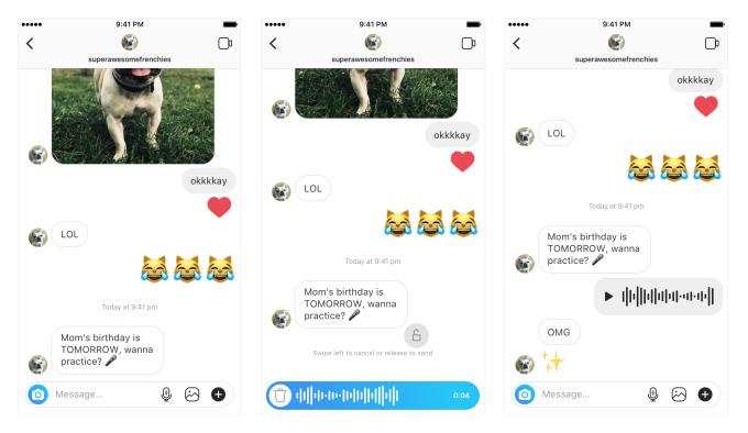 Instagram vừa ra mắt tính năng tin nhắn thoại