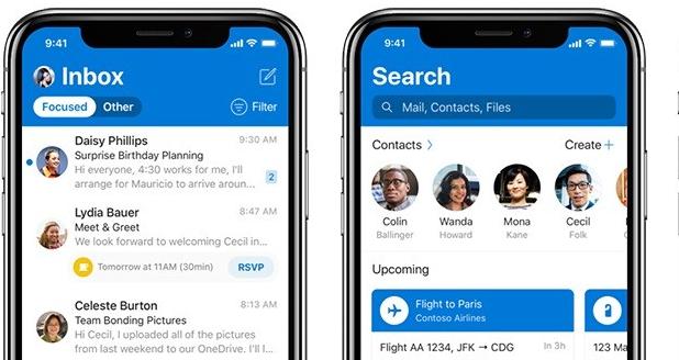 Outlook trên iOS được nâng cấp hiệu năng và giao diện mới