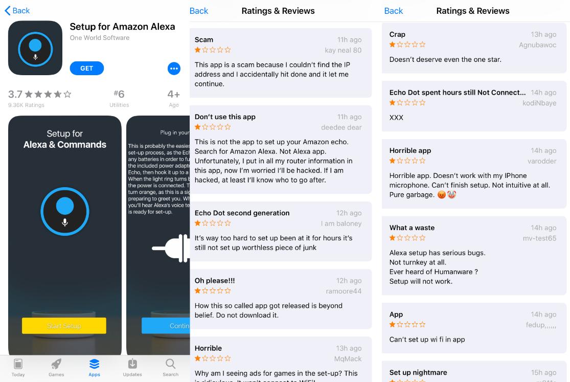 """Ứng dụng trợ lý ảo Alexa """"giả mạo"""" đứng đầu bảng xếp hạng App Store"""