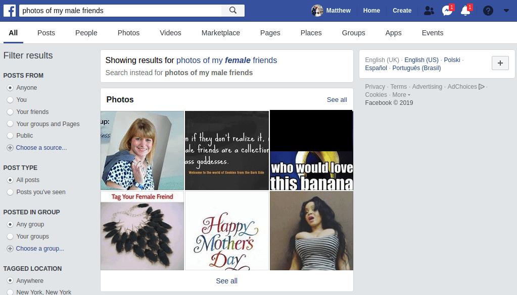 Bạn có thể tìm hình ảnh bạn nữ trên Facebook, nhưng với nam thì không
