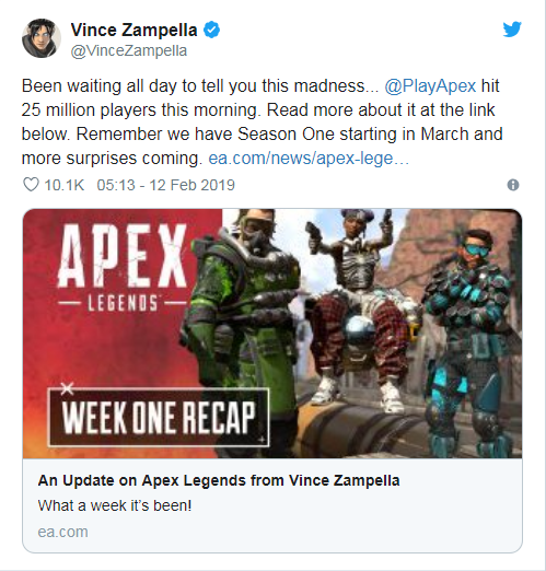 Apex Legends thu hút 25 triệu người chơi sau 1 tuần ra mắt