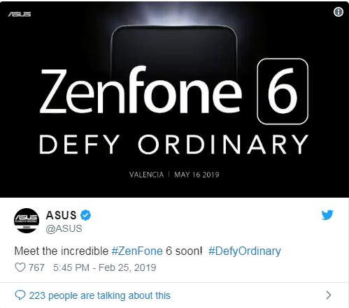 Asus ZenFone 6 sẽ ra mắt vào 16/5 tại Tây Ban Nha