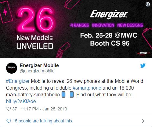 Energizer sắp ra mắt smartphone có pin 18000mAh
