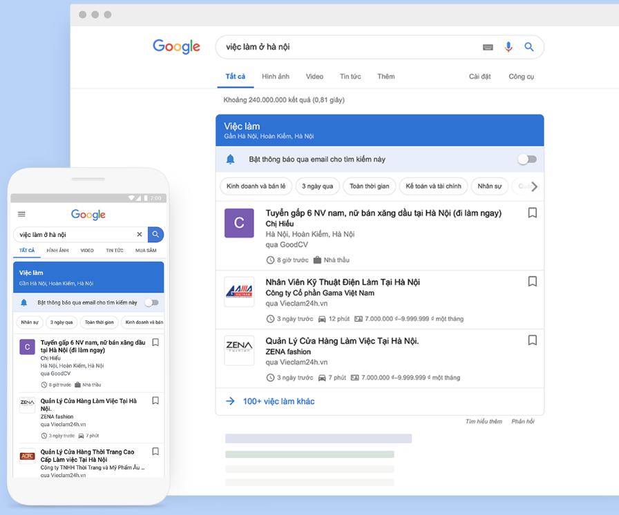 Google Tìm kiếm tích hợp tìm việc làm tại Việt Nam