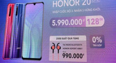 Honor 20 Lite ra mắt: 3 camera sau, bộ nhớ trong 128GB, giá 6 triệu đồng