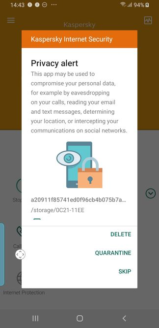Kaspersky cập nhật tính năng cảnh báo phần mềm gián điệp trên smartphone