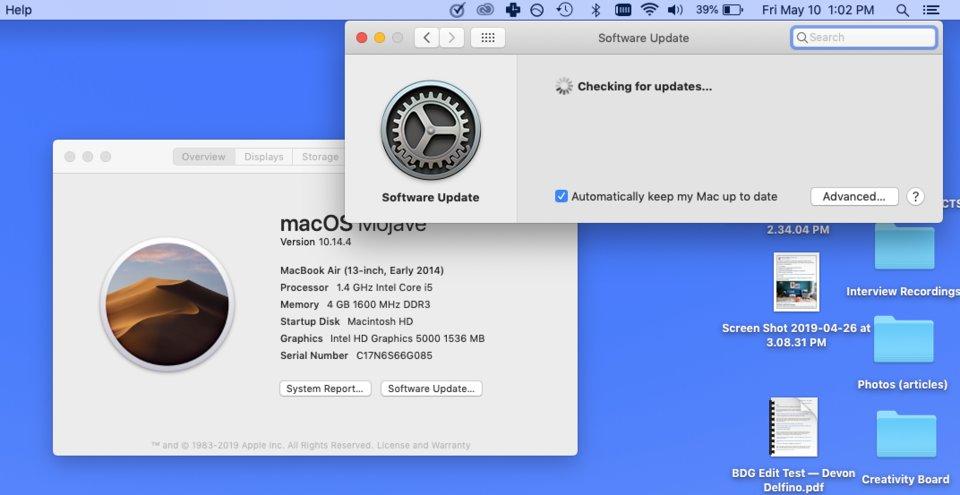 Cập nhật hệ điều hành Mac thủ công
