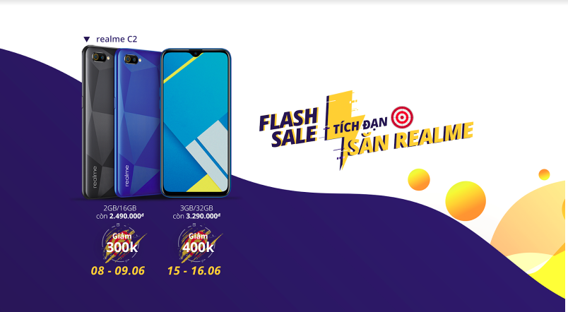 Realme C2 có giá ưu đãi trong hai đợt Flash Sale tháng 6