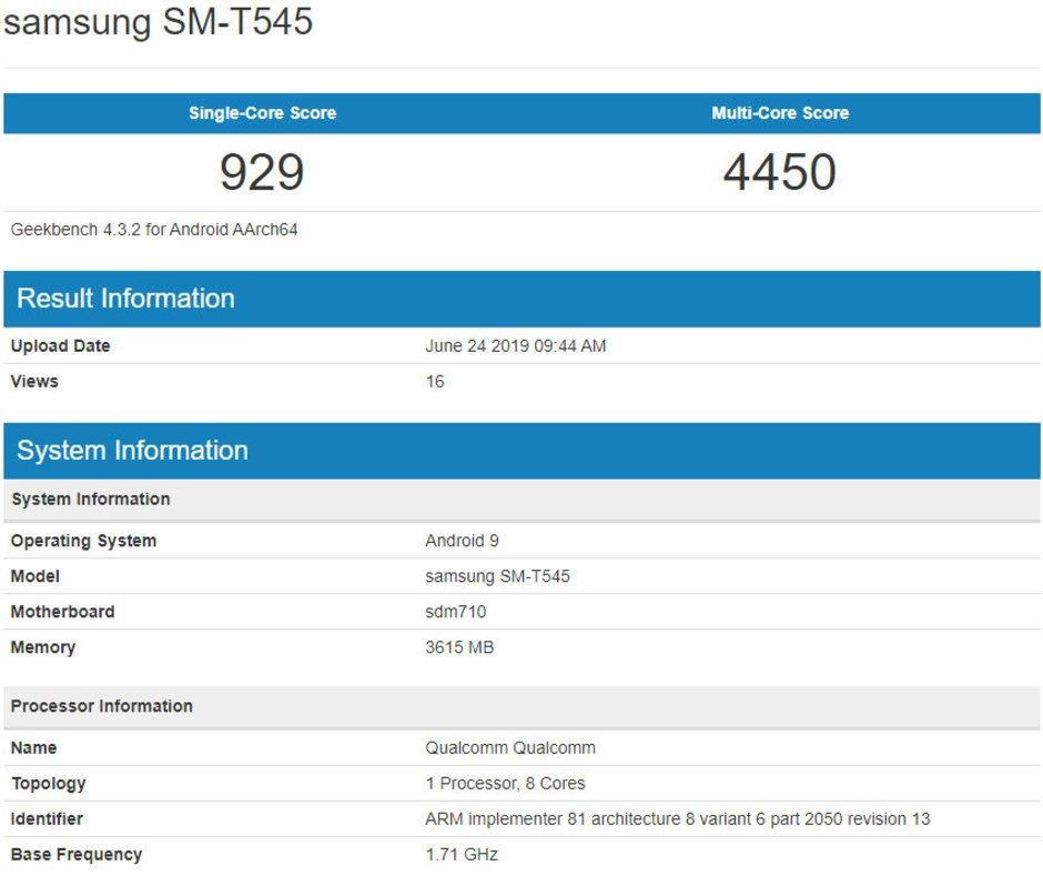 Rò rỉ tablet tầm trung mới của Samsung: chip Snapdragon 710 và RAM 4GB