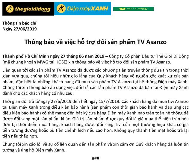 Thế Giới Di Động thông báo hỗ trợ đổi sản phẩm TV Asanzo