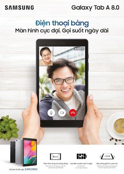 Ra mắt điện thoại bảng Samsung Galaxy Tab A 8.0 (2019), giá 3,69 triệu đồng