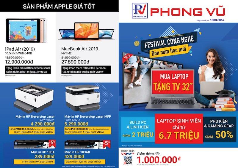 """Phong Vũ tổ chức ưu đãi """"Festival công nghệ"""" chào đón năm học mới"""