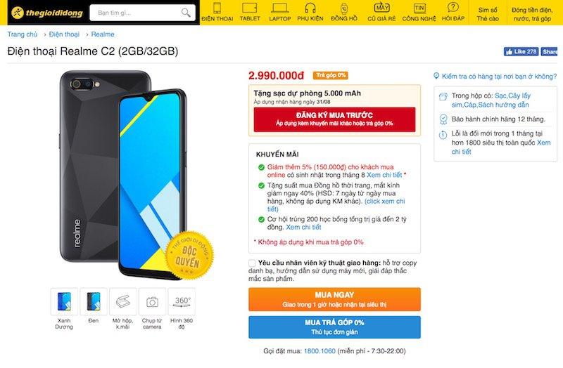 Thế Giới Di Động bán độc quyền Realme C2 bản nâng cấp từ hôm nay