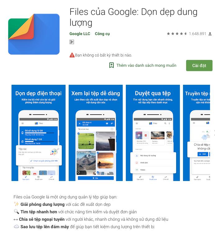 Ứng dụng dọn rác trên smartphone của Google được 100 triệu người lựa chọn