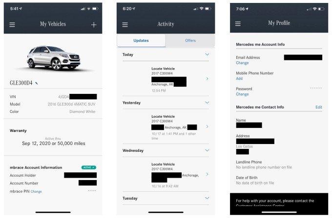 Ứng dụng Mercedes tiết lộ thông tin chủ xe cho người dùng khác