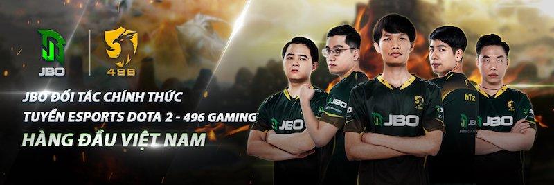 JBO đồng hành cùng 496 Gaming, đội tuyển Dota 2 hàng đầu Việt Nam