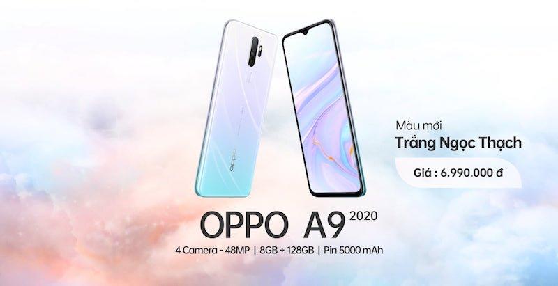 OPPO A9 2020 màu Trắng Ngọc Thạch ra mắt