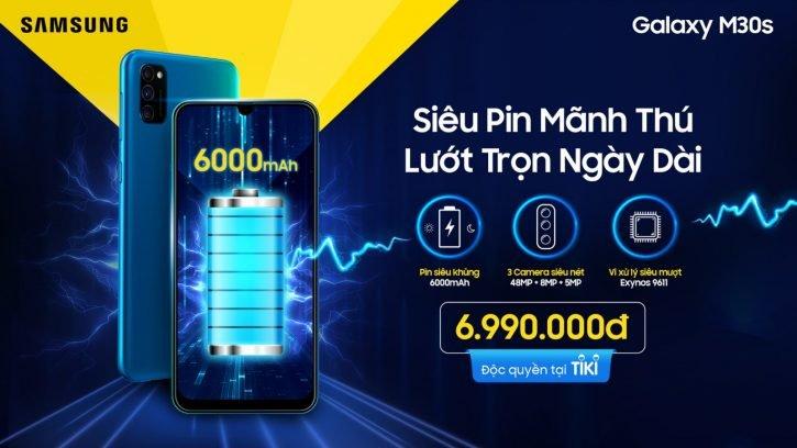 Samsung Galaxy M30s ra mắt, pin 6.000 mAh, hỗ trợ sạc nhanh 15W