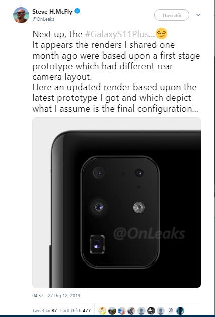 Rò rỉ kích thước và module camera sau của Samsung Galaxy S11