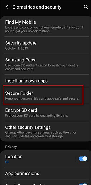Kích hoạt và sử dụng Thư mục bảo mật trên điện thoại Samsung