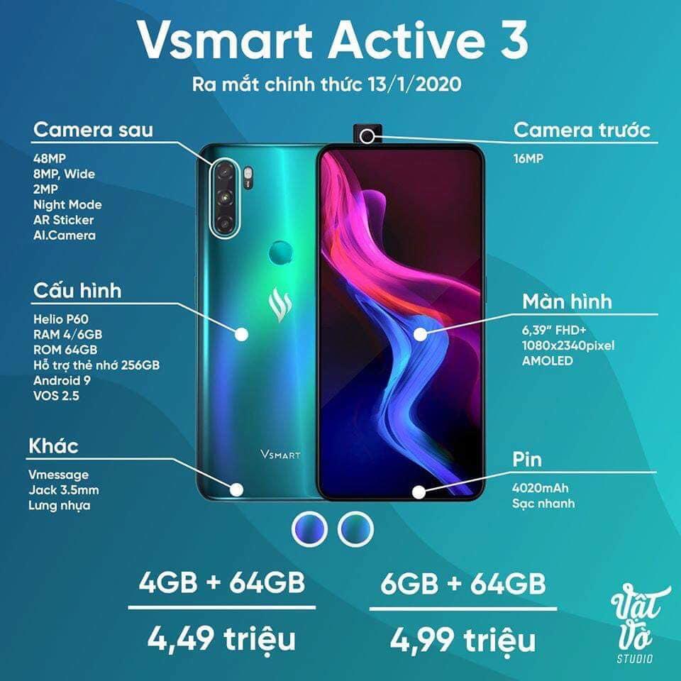 VinSmart chính thức ra mắt Vsmart Active 3 với camera selfie trượt