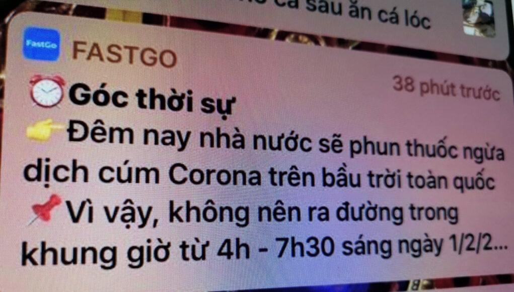 Ứng dụng gọi xe Việt phao tin giả về virus corona
