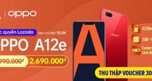 OPPO A12e lên kệ, hai màu đỏ và tím, giá 2,99 triệu đồng