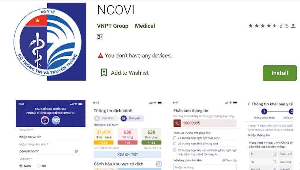 Ứng dụng NCOVI có thêm tính năng