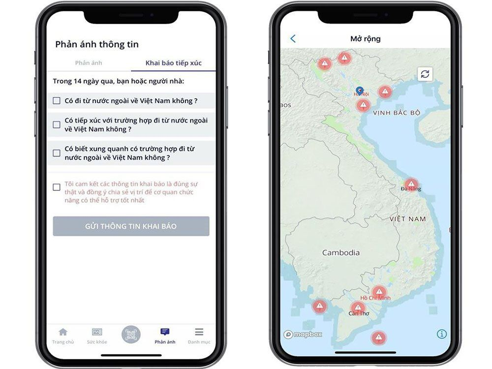Ứng dụng khai báo y tế NCOVI vừa thêm hai tính năng mới: khai báo tiếp xúc và mở rộng bản đồ