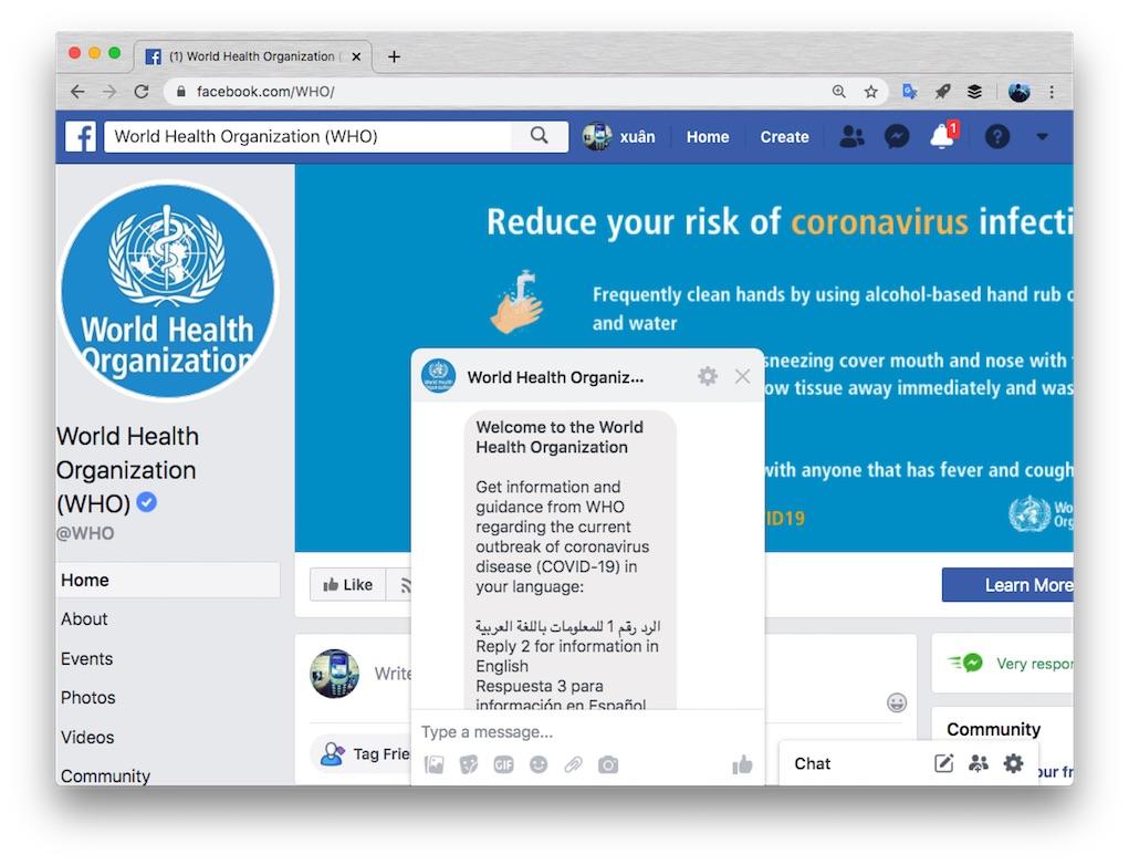 WHO ra mắt Trải nghiệm Messenger cung cấp thông tin chính xác về COVID-19