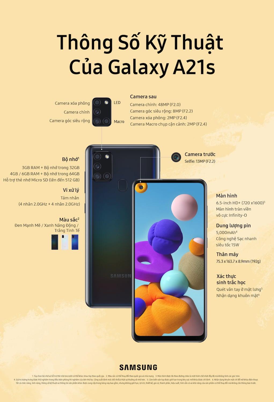 Samsung Galaxy A21s bán từ hôm nay, giá 4,7 và 5,7 triệu