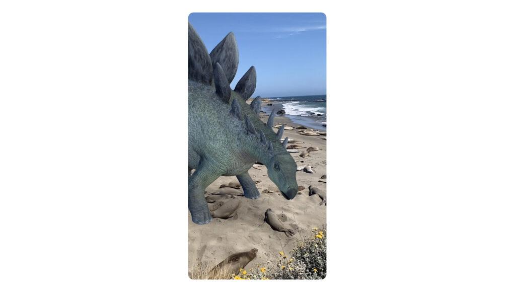 Google tìm kiếm hiển thị mô hình AR 3D khủng long kỷ Jura