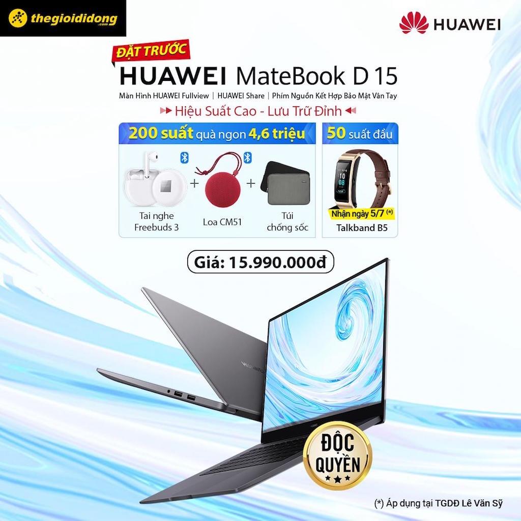 Huawei tung máy tính xách tay MateBook D 15, giá 15,99 triệu đồng