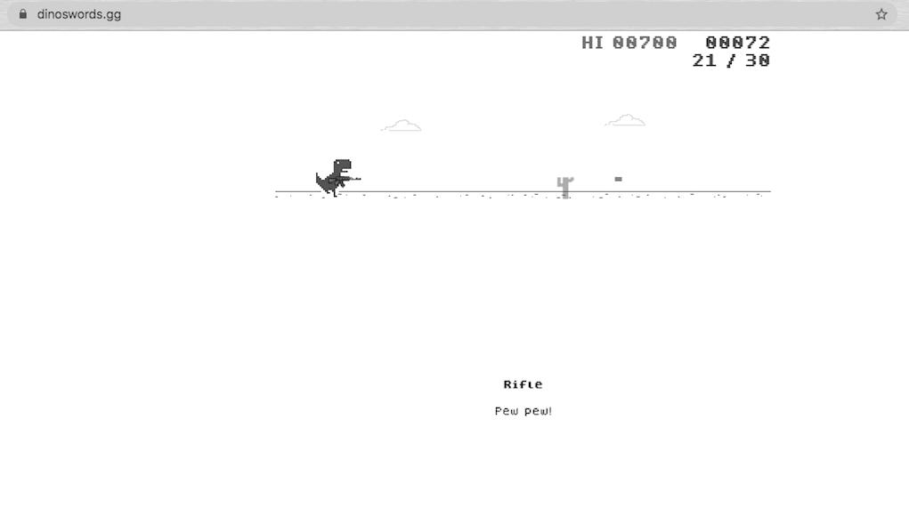 Game khủng long chạy bộ trên Google Chrome được nâng cấp