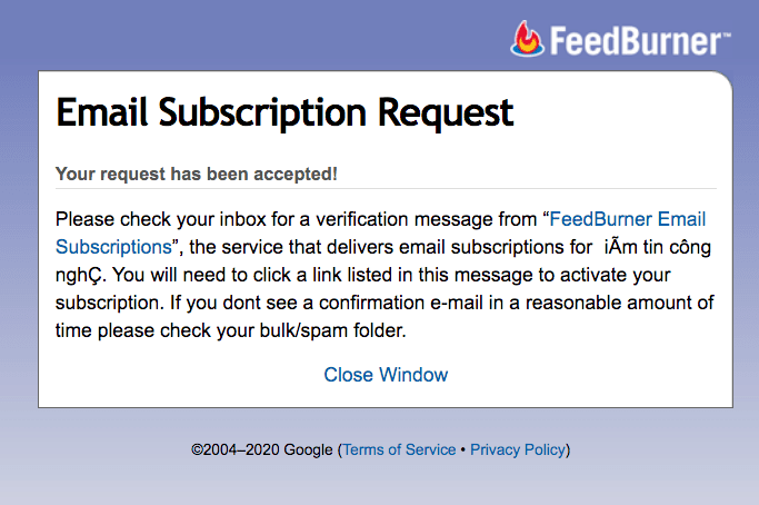 Nhận tin tức qua e-mail