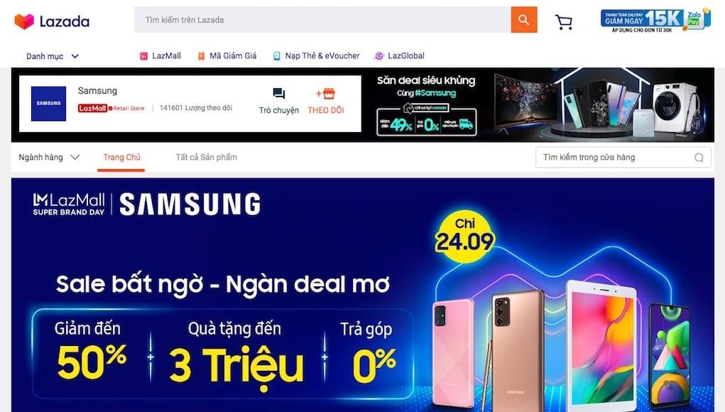 Samsung hợp tác Lazada qua sự kiện mua sắm Ngày siêu thương hiệu