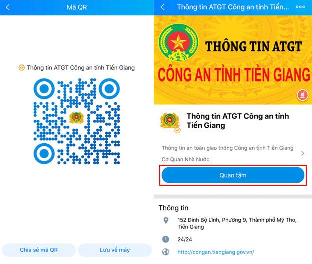 Công an tỉnh Tiền Giang tuyên truyền an toàn giao thông qua Zalo