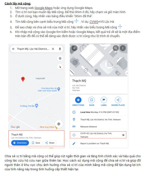 Người dân miền Trung nên chia sẻ mã cộng từ Google Maps cho đội cứu hộ