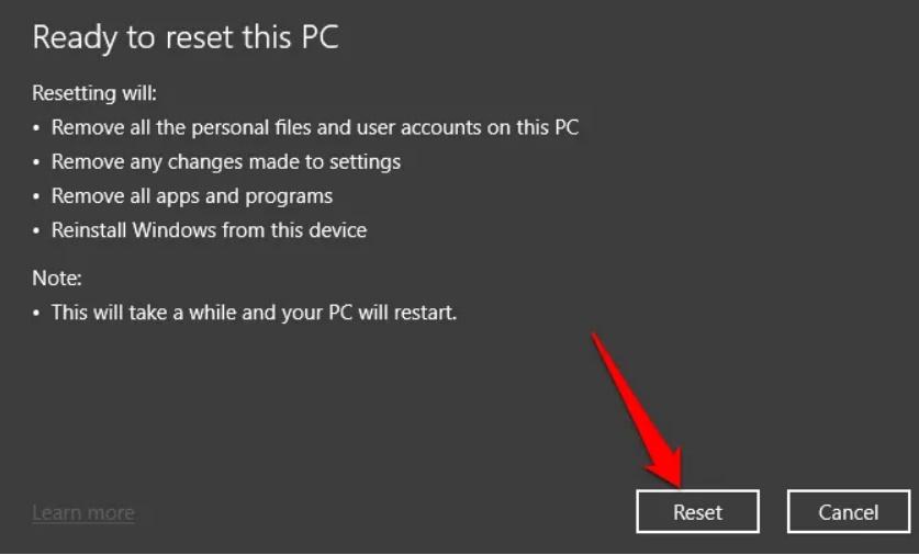 Khôi phục cài đặt gốc cho Windows 10