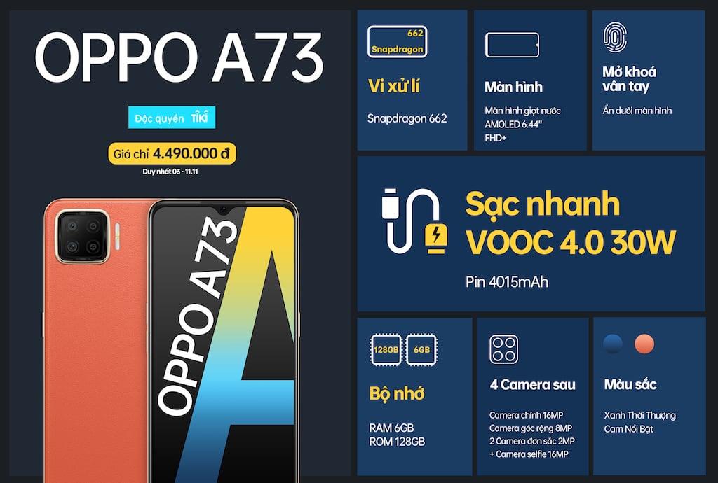 OPPO A73 lên kệ tại Việt Nam với sạc nhanh và giá sốc