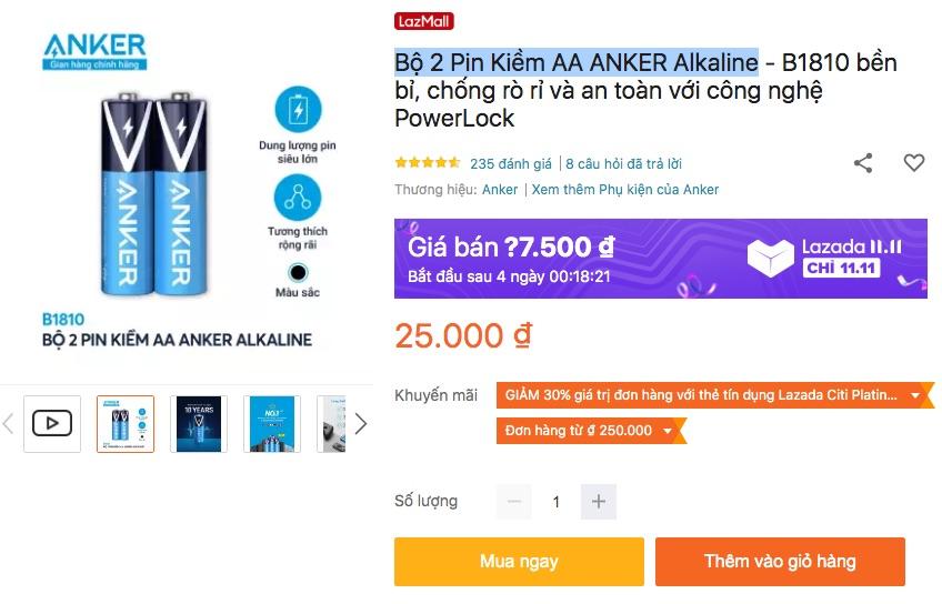 Bộ 2 Pin AA, 4 pin AAA ANKER Alkaline