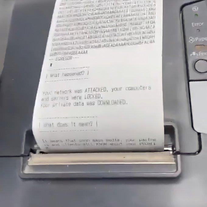 Ransomware Egregor khiến toàn bộ máy in phát tán thông điệp tống tiền
