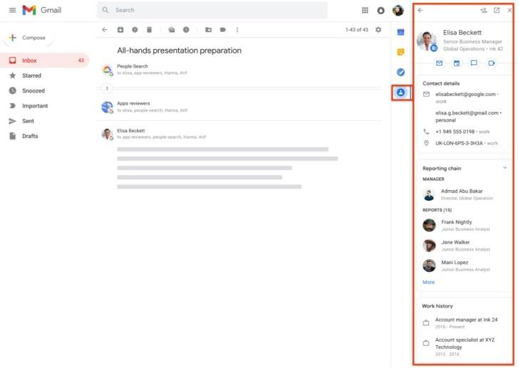 Đã có thể xem thông tin chi tiết của liên hệ trong bảng điều khiển bên Gmail
