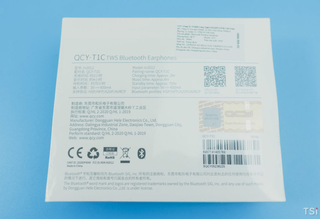 Tai nghe không dây true wireless QCY-T1C từ Xiaomi