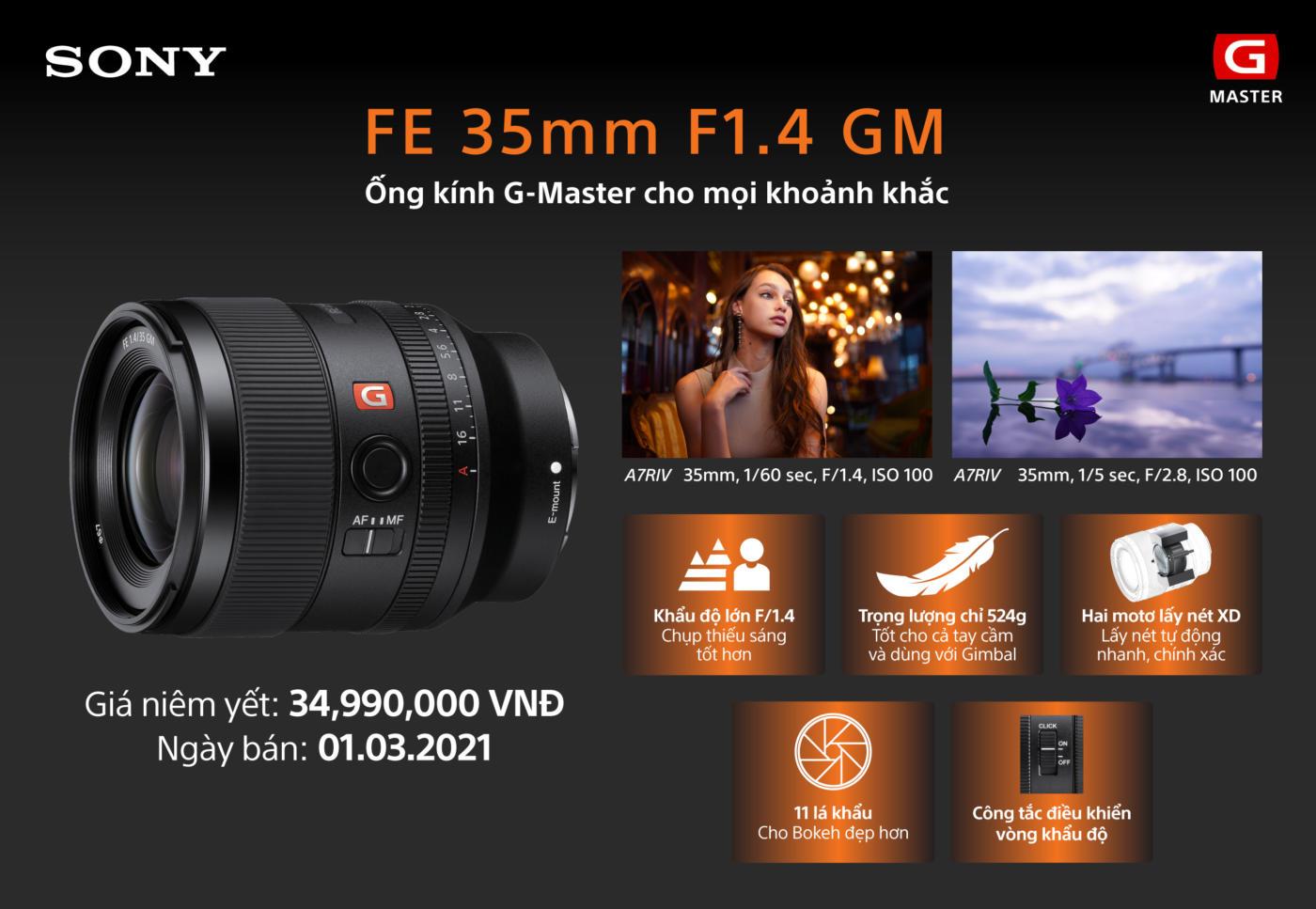 Sony ra mắt ống kính full-frame FE 35mm F1.4 GM: hình ảnh vượt trội trong thiết kế nhỏ gọn