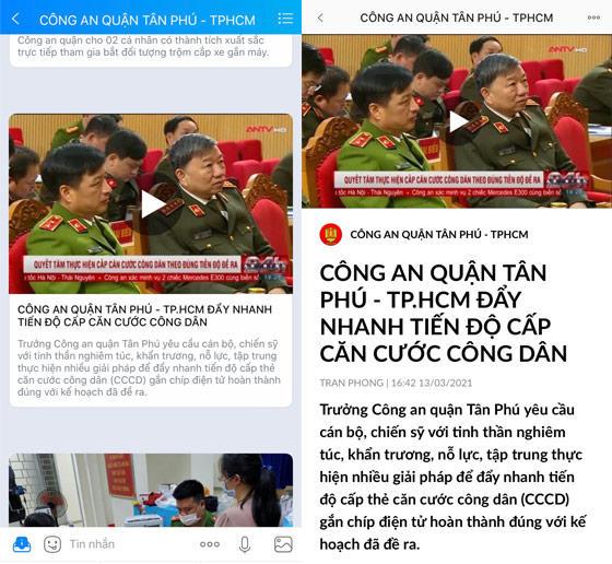 Quận Tân Phú dùng Zalo cập nhật thông tin làm căn cước công dân có gắn chip