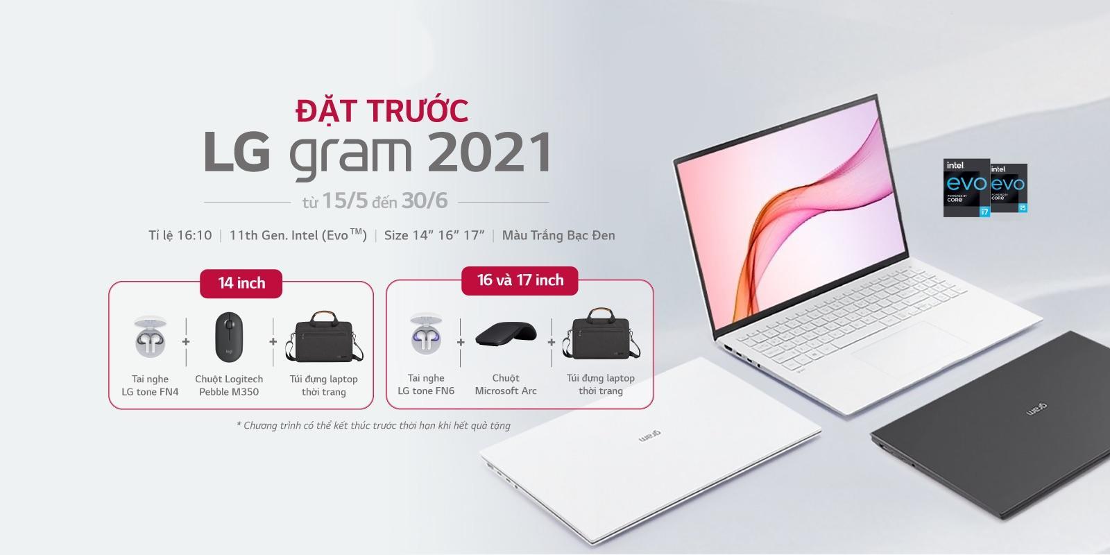 Laptop LG gram 2021 bán tại Việt Nam giá từ 35 triệu đồng