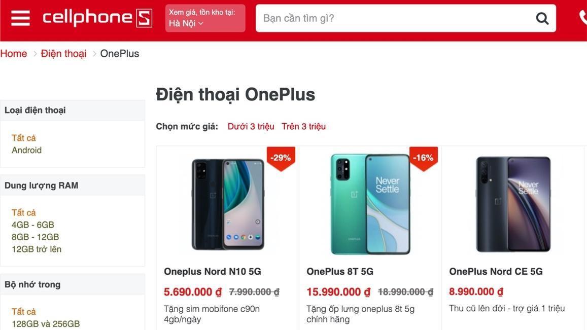 CellphoneS mở bán loạt smartphone OnePlus cùng nhiều ưu đãi quà tặng độc quyền